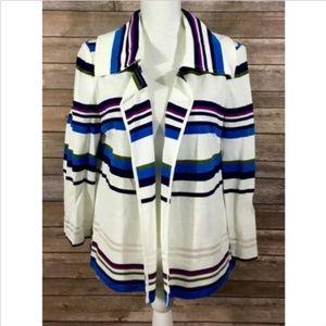 St John Womens Open Front Striped Blazer Jacket 18